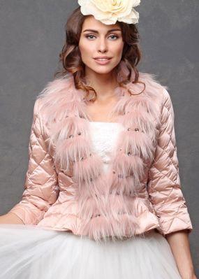 Розовое пуховое болеро для невесты V16 0012