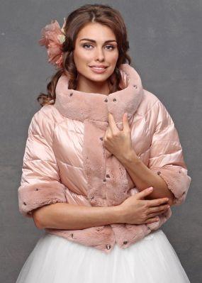 Розовое болеро для невесты с рукавами до локтя V16 0042