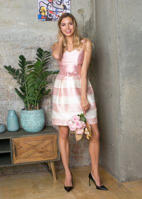 Короткое модное платье с полосками и бантами VE016