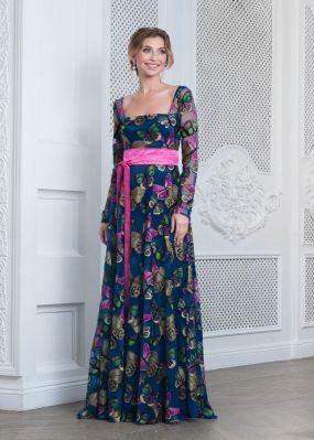 Длинное вечернее платье с бабочками VF001B