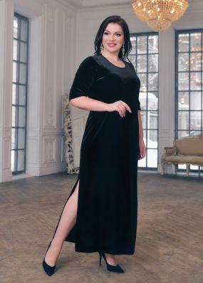 Бархатное платье с разрезами VXL002B
