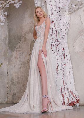 Легкое свадебное платье с разрезом ZAR009