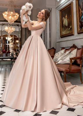 Бежевое атласное свадебное платье ZAR010