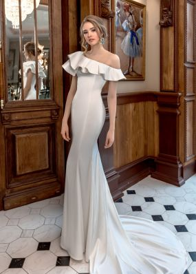 Атласное платье силуэта рыбка ZAR014