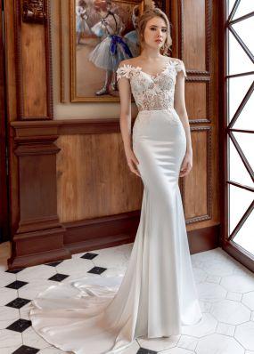 Облегающее свадебное платье с шлейфом ZAR022
