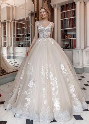 Пышное свадебное платье с кружевом ZAR029