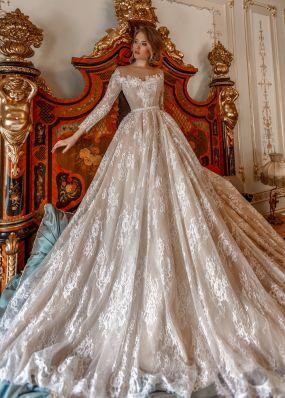 Кружевное свадебное платье с длинным рукавом ZAR034