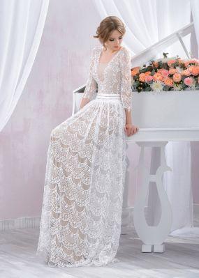 Прямое кружевное свадебное платье ZBZ004