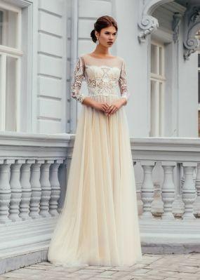 Нюдовое свадебное платье ZCD001