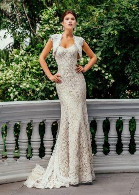 Кружевное свадебное платье-русалка с болеро ZCD004