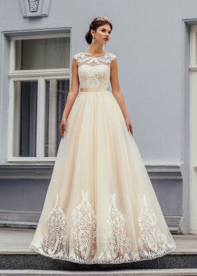 Свадебное платье из фатина с кружевом ZCD007