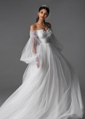 Свадебное платье из фатина с длинным рукавом Aria Di Lusso ZDL005