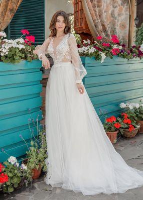 Легкое свадебное платье с длинными рукавами Aria Di Lusso ZDL017