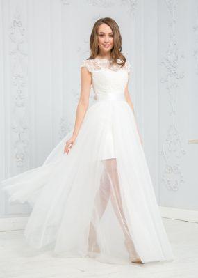 Белое платье с двуслойной юбкой разной длины ZEK003B
