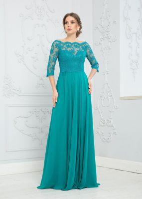 Длинное шифоновое платье с кружевными рукавами ZEK012B