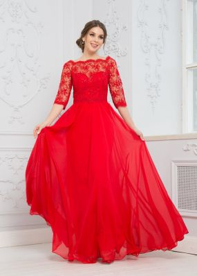 Длинное платье с кружевами ZEK016B