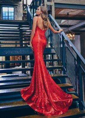 Вечернее платье-русалка из красных пайеток с шлейфом ZEK032B