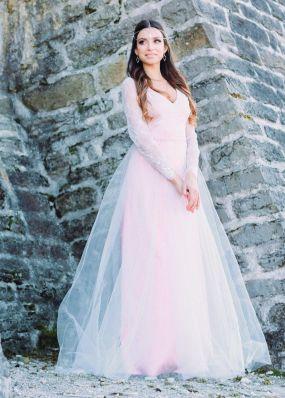 Нарядное розовое платье с фатином ZEL021