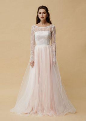 Свадебное платье а-силуэта с длинными рукавами ZEL030