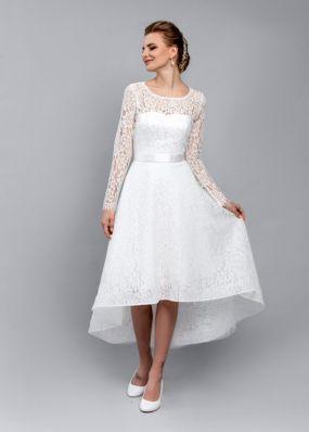 Свадебное платье из кружева переменной длины ZEL037