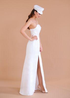 Атласное свадебное платье с кепкой ZEV002