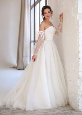 Корсетное свадебное платье со съемными рукавами ZEV004