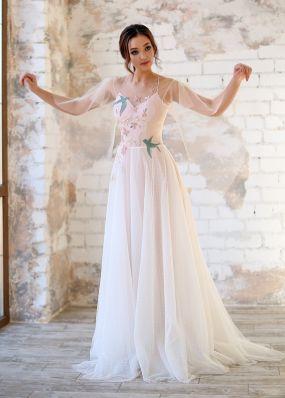Свадебное платье из фатина с аппликацией ZEV018