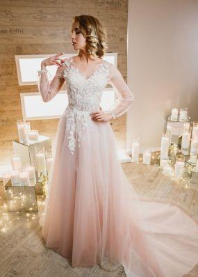 Свадебное платье нежно-розового цвета ZIS004