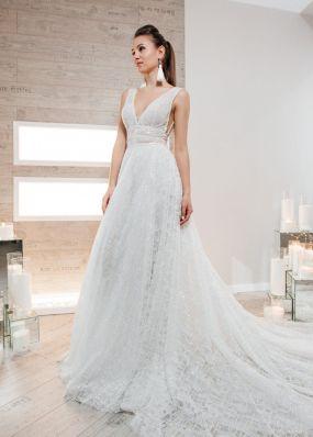 Свадебное платье из шифона с вышивкой и пайетками ZIS005