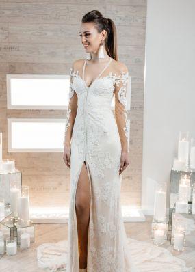 Прямое свадебное платье с разрезом ZIS014