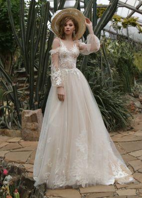 Свадебное платье  с вышивкой и длинными рукавами ZIS015