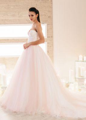 Розовое свадебное платье с белым кружевом и фатином ZIS020