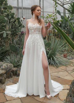 Легкое свадебное платье с разрезом ZIS021