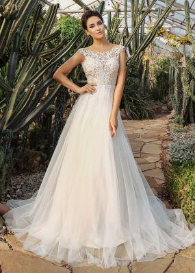 Свадебное платье с кружевным верхом ZIS023