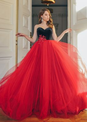 Элегантное  платье из бархата и фатина ZML020B