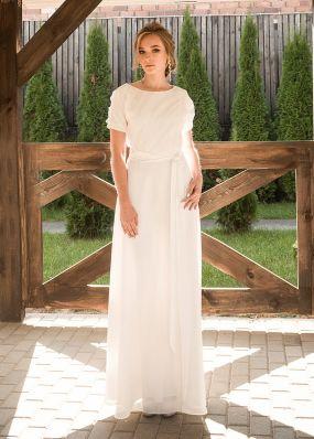 Прямое свадебное платье из шифона ZRN005