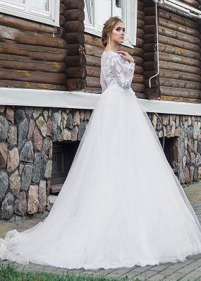 Свадебное платье с кружевными рукавами ZRN009