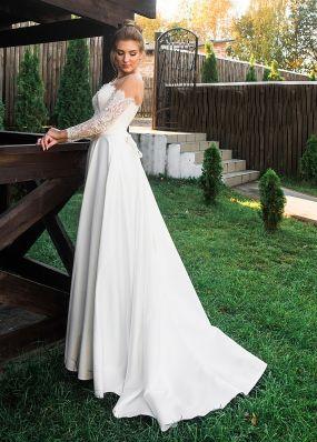 Атласное свадебное платье с кружевными рукавами ZRN010