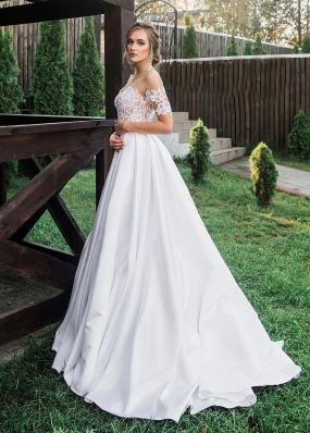Свадебное платье с вышивкой кружевом ZRN011