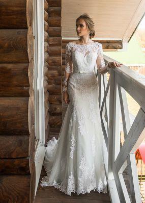Свадебное платье-русалка из кружева с длинными рукавами ZRN018