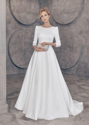 Атласное платье с шлейфом ZTB001