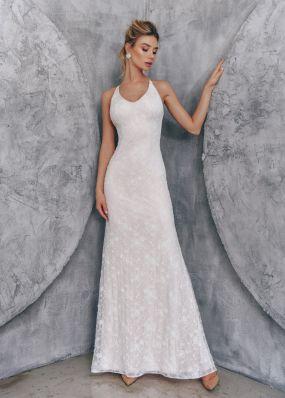 Кружевное свадебное платье на бретельках ZTB002