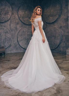 Свадебное платье со спущенным рукавом ZTB005