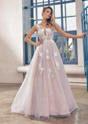 Длинное свадебное платье а-силуэта с кружевом ZTB006