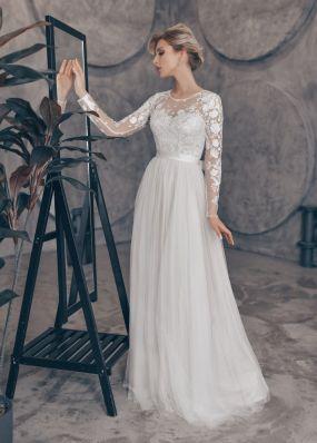 Свадебное платье из кружева и фатина ZTB009