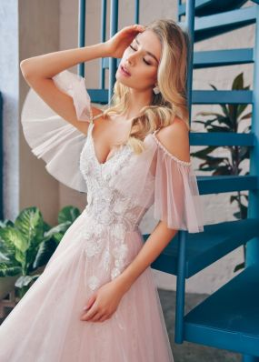Свадебное платье с оригинальными рукавами ZTB013
