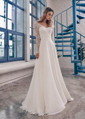 Свадебное платье с длинными рукавами из кружева ZTB014