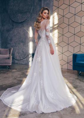 Свадебное платье а-силуэта с кружевными рукавами ZTB016