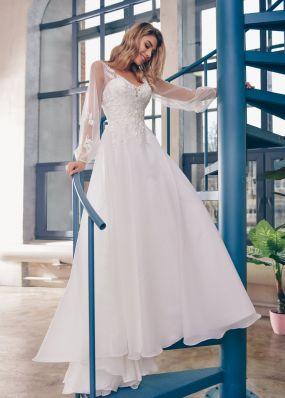 Фатиновое свадебное платье с кружевом ZTB017