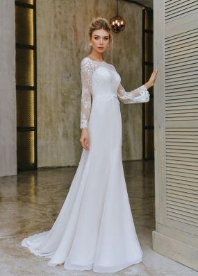 Свадебное платье с кружевными рукавами ZTB021